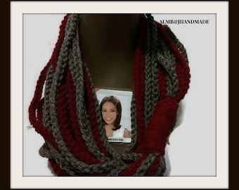 Infinity Chain Scarf , Chain Scarf ,  Infinity Scarf, Fashion Scarf  , Crochet Scarf ,  Fashion Cowl  , Burgundy and Gray ,Mothers Day Gift