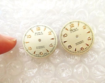 Steampunk Watch Parts, 2 Vintage Remiz Watch Face Dials, From Old Watch Parts, For Steampunk Art, Jewelry, Earrings, Repair  #DL12