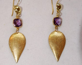 Contemporary Amythist and Vermeil Leaf Earrings