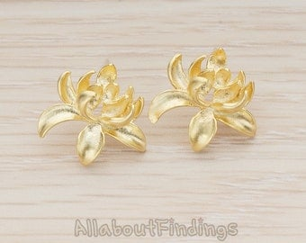 ERG293-MG // Matte Gold Plated Full Bloom Lotus Flower Earpost, 2Pc