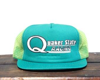 Vintage Quaker State Motor Oil Racing Team Nascar Trucker Hat Snapback Baseball Cap