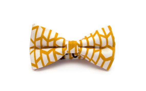 Noeud papillon homme - Noeud papillon jaune ochre - Noeud papillon blanc - Noeud papillon jaune moutarde - Noeud papillon préattaché