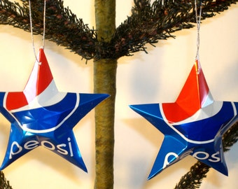 Recycled Pepsi Soda Can Aluminum Stars - Set of 2 Red White And Blue Christmas Ornaments