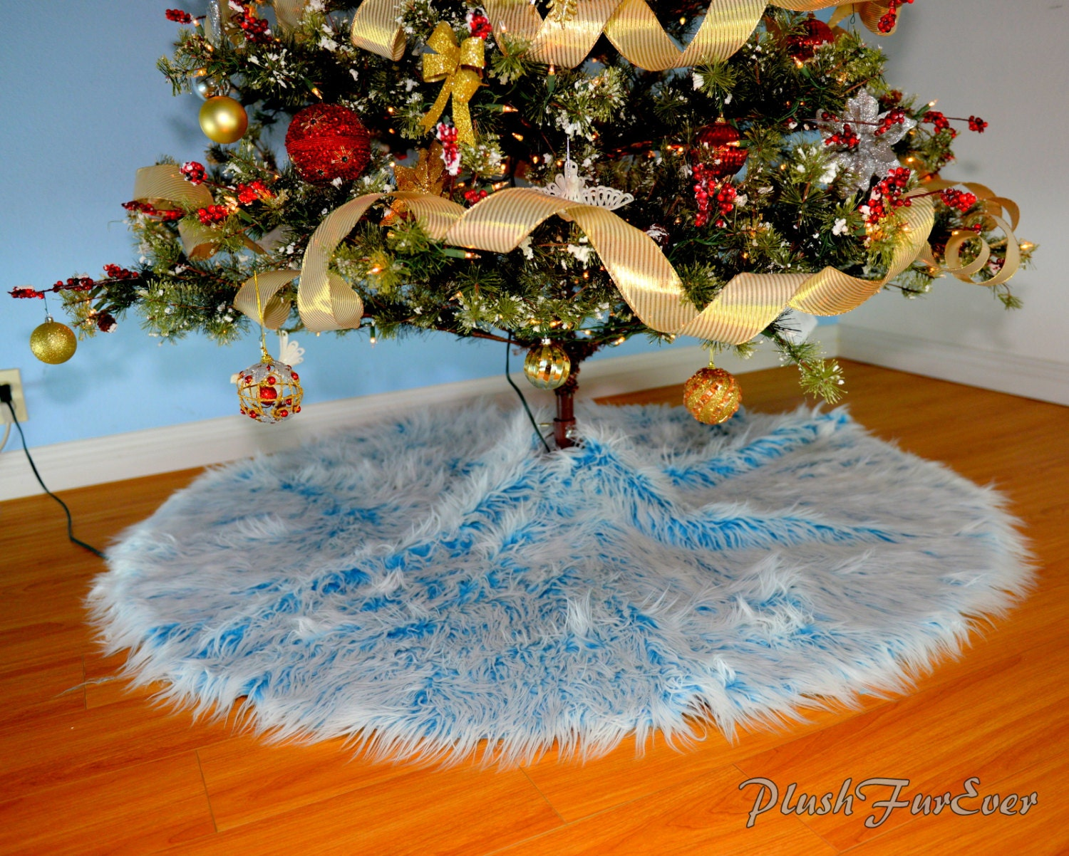 Tree Skirt Blue White Mongolian Sheepskin Faux Fur