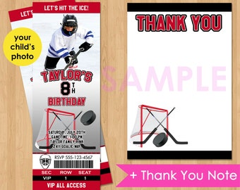 Hockey Invitation, Hockey Ticket Invitation, Hockey Birthday Invitations, Ice Skate Party Photo Printable Invite Kids Custom Birthday