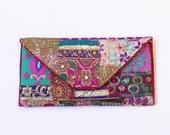 ETHNIC CLUTCH BAG / Hippie Patchwork tribal style, embellished envelope clutch, Christmas gift, Boho, gypsy, vintage indian bag