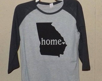 Home State Baseball T-Shirt / Three Quarter Sleeve