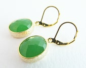 Green Earrings  Green and Gold Earrings Peridot Colour Glass Faceted Jewellery Emerald Green Earrings Small Green Earrings