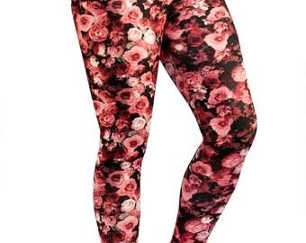 Women Custom Patterned Print Tights/Leggings-Floral Print