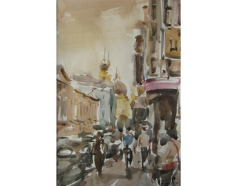 At sunset - Summer in the city - original watercolor