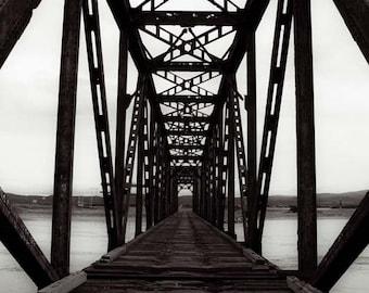 Fine Art Bridge Prints, Black White Train Bridge Prints, Fine Art Photography, Black And White Print, Railway Bridge Print, Fine Art Print