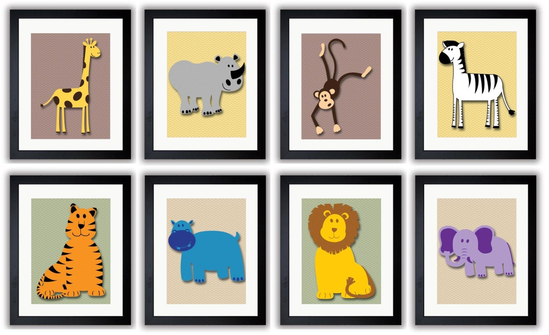 Africa Nursery Animals Mix and Match Kids Art Nursery Giraffe Rhino Monkey Zebra Tiger Hippo Lion El
