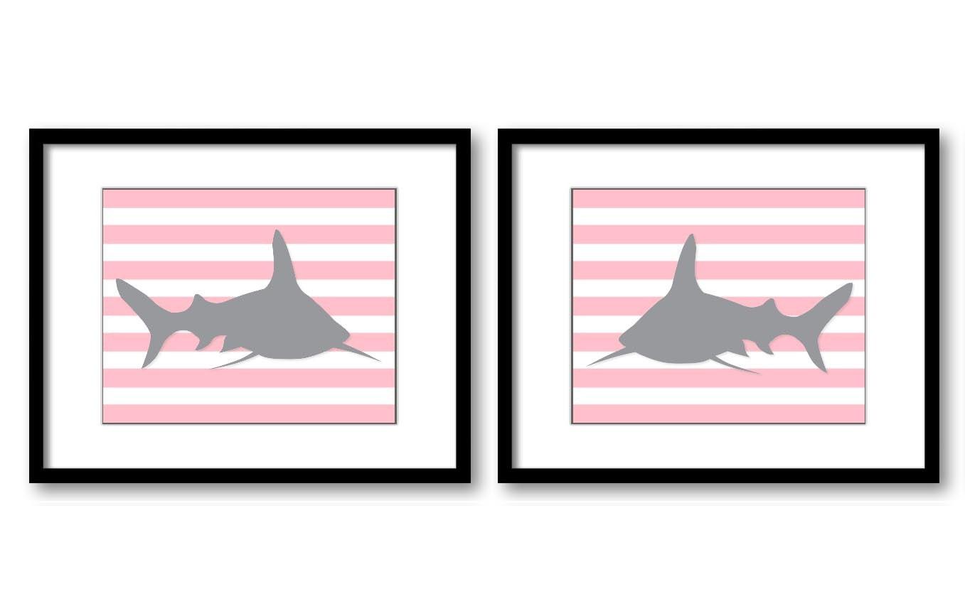 Shark Nursery Art Nursery Print Set of 2 Sharks Pink Grey Stripes Child Art Prints Sea Ocean Marine
