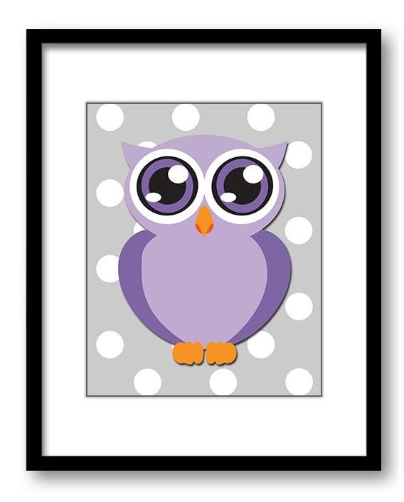 Owl Nursery Art Nursery Print Grey Polka Dots Purple Owl Baby Art Baby Animal Pink Print Child Kids