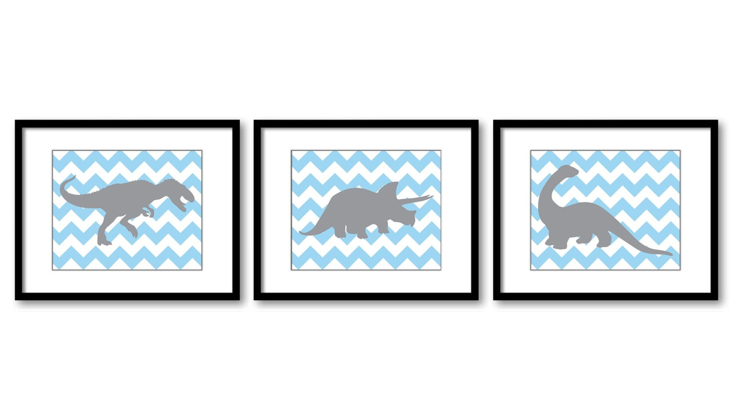 Dinosaur Nursery Art Dinosaurs Prints Set of 3 Prints Blue Grey Chevron Tyrannosaurus Rex Triceratop