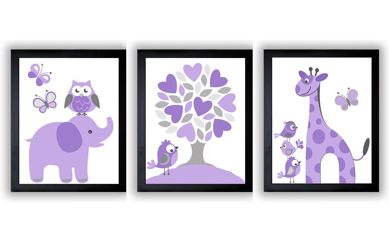 Lavender Purple Grey Gray Nursery Art Print Set of 3 Elephant Owl Bird Tree Giraffe Baby Nursery Pri