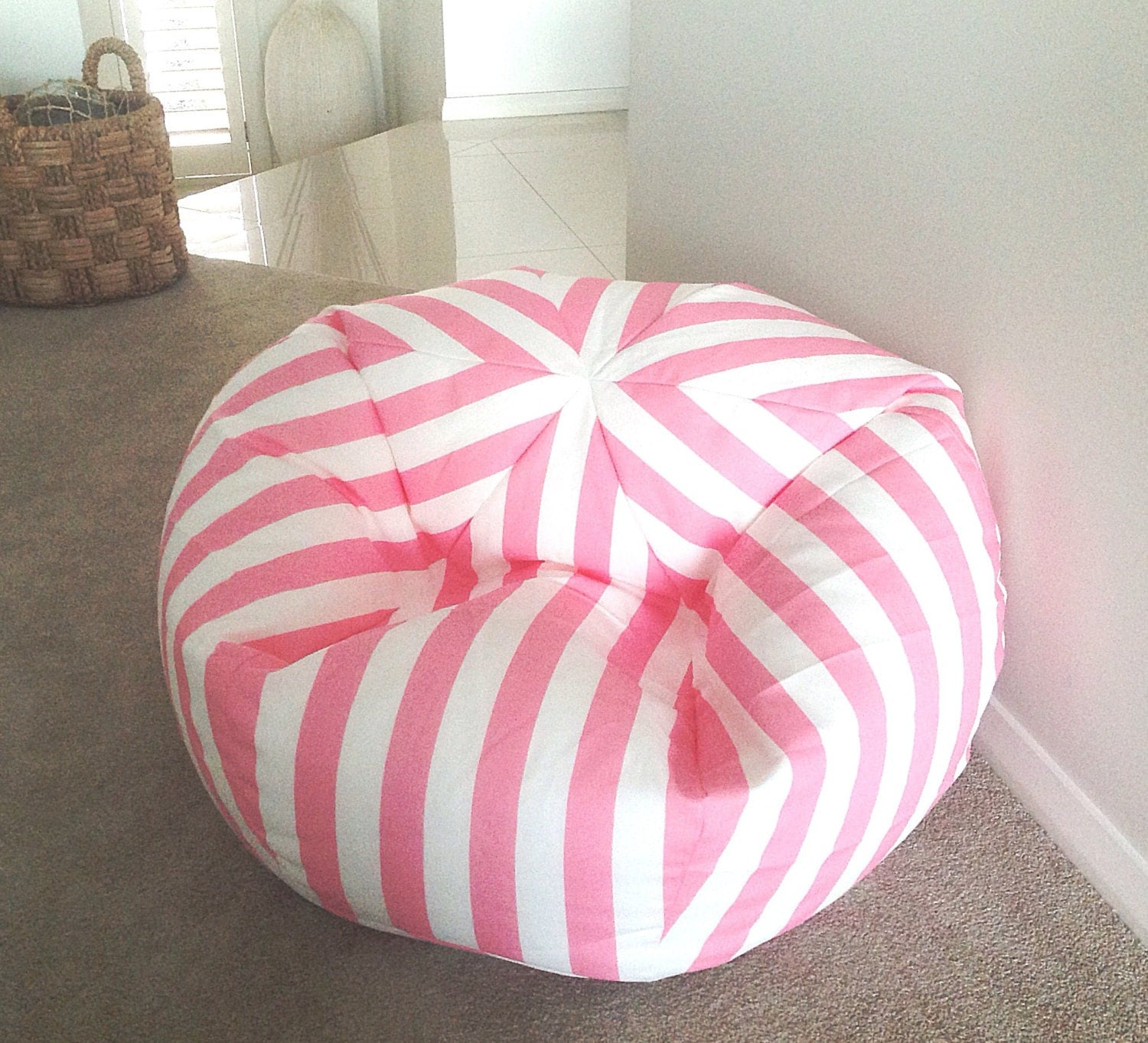 Kids Bean Bag Pink and White Canopy Stripes Bean Bag Cover