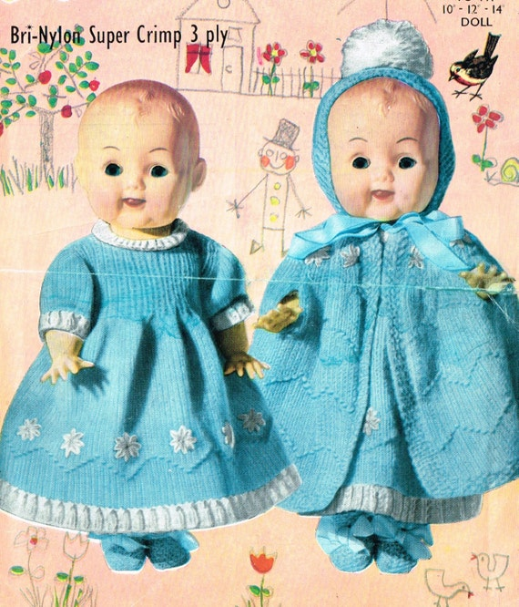 Dolls clothes knitting pattern for 10 inch12 inch 14 inch