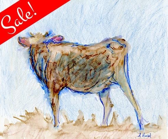 SALE: Brown Calf, Watercolor Painting