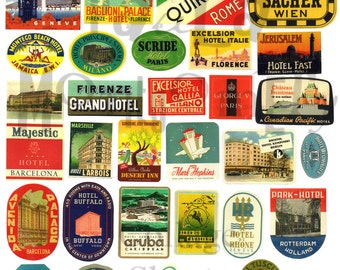 Vintage Travel Stickers Digital Download Collage Sheet