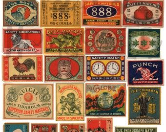Vintage Matchbox Labels Number 1 Digital Download Collage Sheet