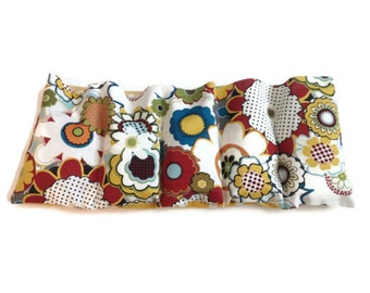 Microwaveable Flax Seed Heating Pad with Bright Bold Flower Print