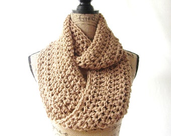Infinity Scarf Toasted Almond Brown Infinity Crochet Scarf Cowl Loop Circle Accessory
