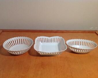 Three Vintage White Porcelain Serving  Bowls - Fine China Decretive Dish