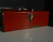 50% off CLEARANCE,  Vintage well used red toolbox. Long box with working latch. Shabby organizer, industrial home decor, storage.