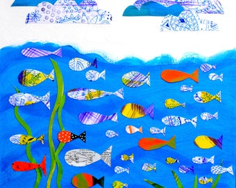 Lotsa fish in the Sea. Ocean Themed nursery, playroom, or toddler bathroom print.