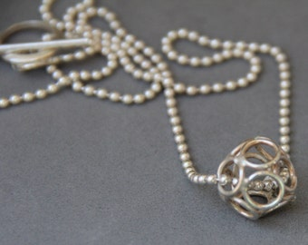 "Necklace, Sterling Silver ""Ball of Circles"" Ball Sterling Chain Necklace Handcrafted, Artisan Designed 