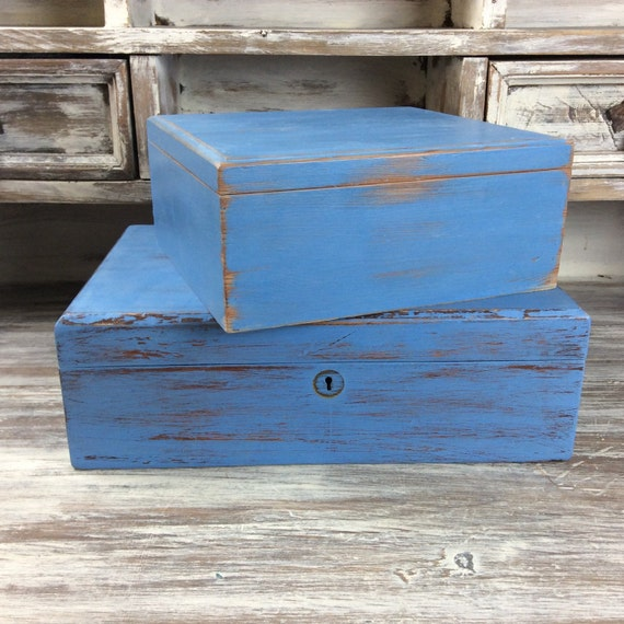 Man Cave Knick Knacks : Storage box two blue boxes distressed wood nautical