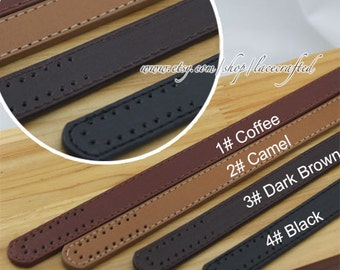 1 pair PU Leather bag Strap Material, 0.7inch Thick Leather Shoulder  24.4 inches Stitching Handles Punch Hole Black Winered Brown coffee
