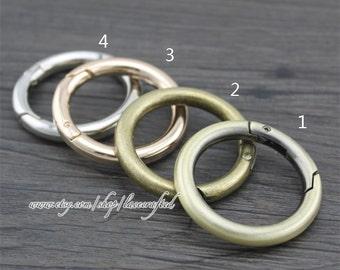 4 pcs 3.2cm(inner diameter) Brushed Brass Bronze Light Golden silvery round spring gate ring spring ring clasp snap ring screw spring ring