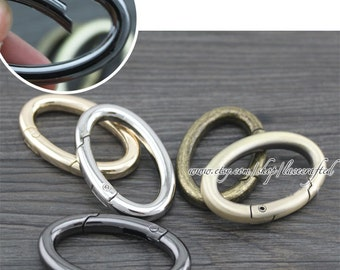 4 pcs Brushed Brass light golden silvery bronze gunmetal oval spring gate ring spring ring clasp oval spring ring