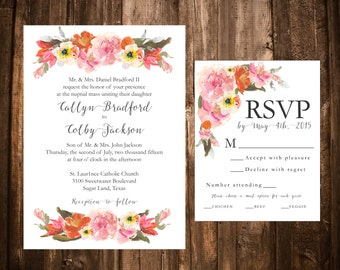Bright Spring Floral Wedding Invitations; Printable OR set of 25
