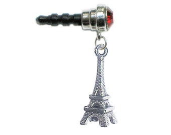 Cute EIFFEL TOWER Paris Red Gem Phone Charm 3.5mm. Anti Dust Plug for Cell iPhone Android HTC Tablet iPod eReader