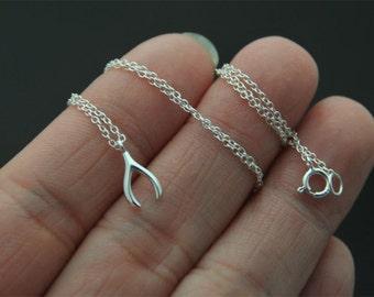 Tiny wishbone, lucky bone charm necklace, Silver Necklace, Sterling silver wishbone charm, lucky bone, good luck bone charm necklace