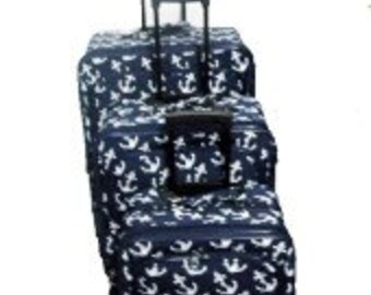Three piece Luggage Set. Anchor Print in Navy Blue