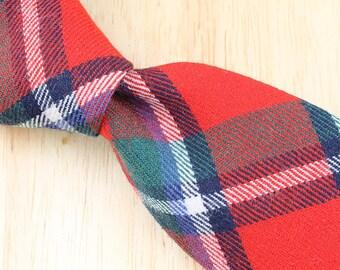 Vintage Necktie The Amanas Red Multicolor Plaid Wool Mens Tie