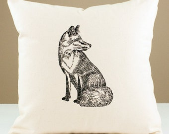 Embroidered Fox Pillow 16x16