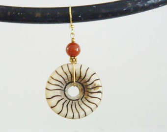 Pretty Ethnic Carved Bone Circle Earrings with Red Jasper Stones...