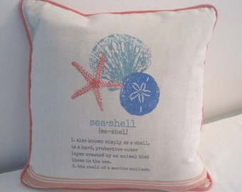 Seashell themed pillow cover