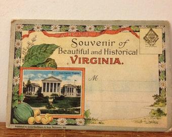Vintage Historic Virginia Souvenir Postcard Folder 1920s