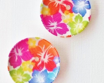 2 x 40mm bright tropical print wooden buttons