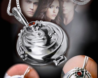 Elena Gilbert Vampire Diaries Locket * 100 % 925 Sterling Silver * comes with Blue Vervain + Gift and reduced S/H