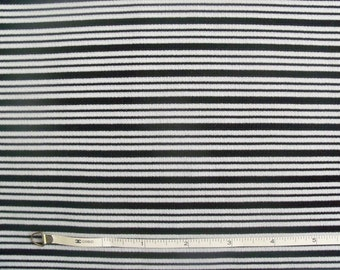 Vintage 70s Black & White Mini Stripe Double Knit Fabric