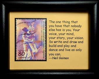 Ballroom Dancing Tango -Handmade Framed Postage Stamp Art 0709WA