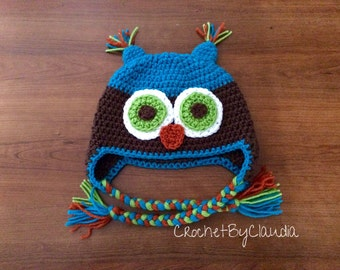 Crochet owl Beanie/ Owl Beanie/Made to Order/Any size