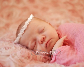 White and Lace Halo, Newborn Headband, Lace Pearl Headband, Baby Headband Halo, White and Lace Headband, Baptism Halo, Halo Photo Prop